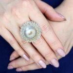 ブリオレットダイヤモンドパールリング